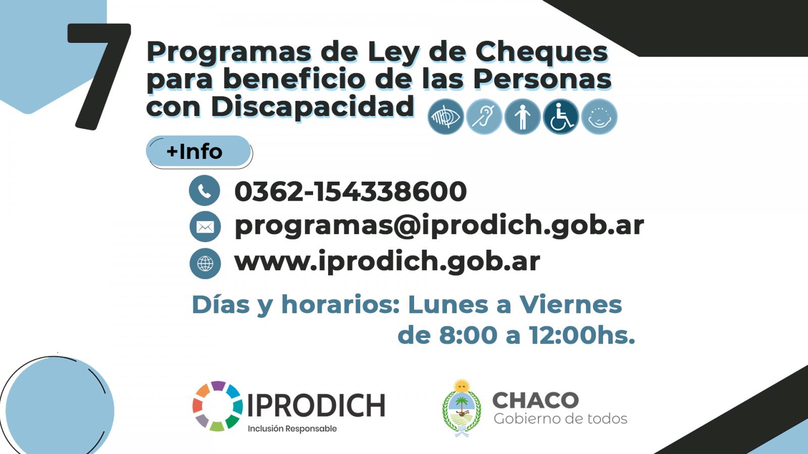 """El IPRODICH informa que ya se puede acceder a los programas de la """"Ley de Cheques"""""""
